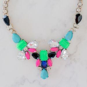 Jewelry - Neon and Rhinestone Statement Necklace